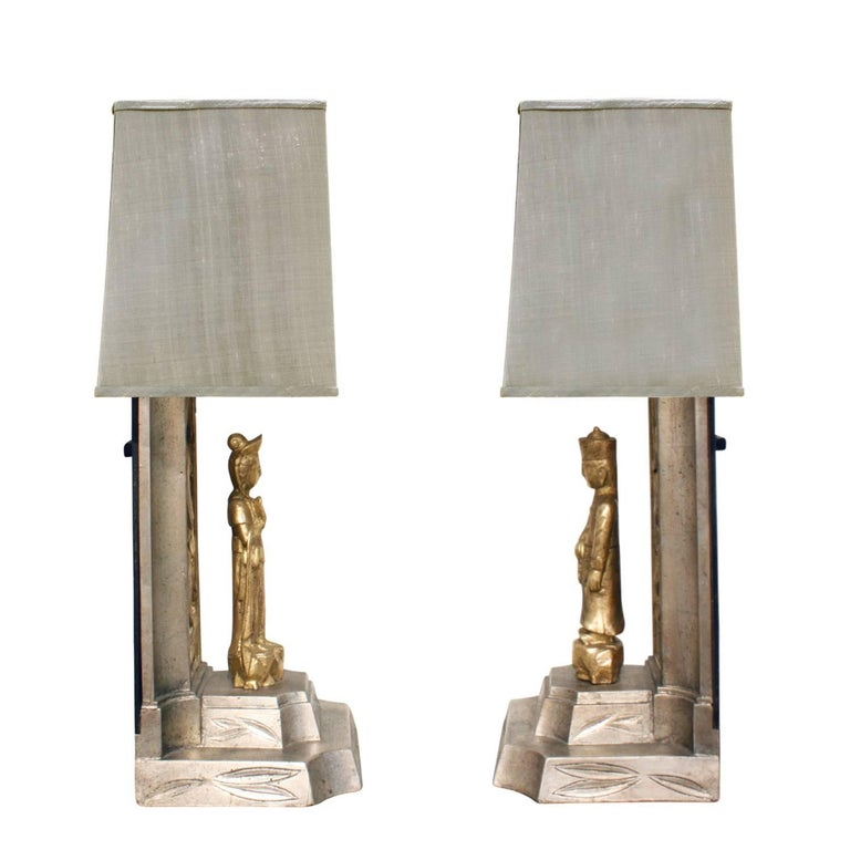 Modern James Mont Pair of Hand-Carved Table Lamps, 1950s For Sale