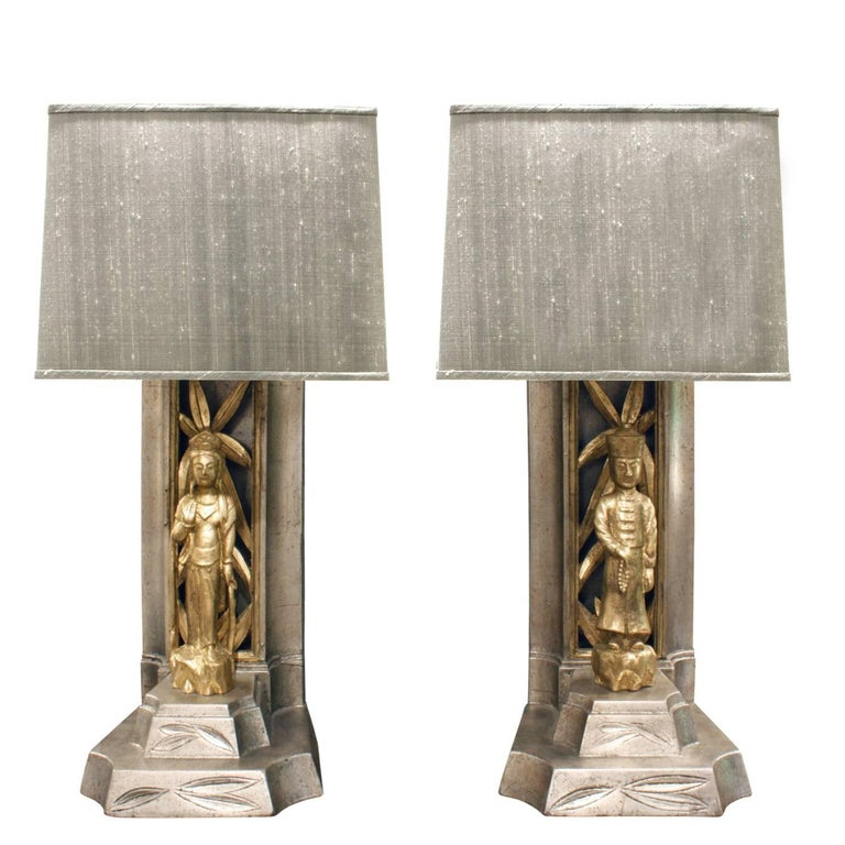 James Mont Pair of Hand-Carved Table Lamps, 1950s
