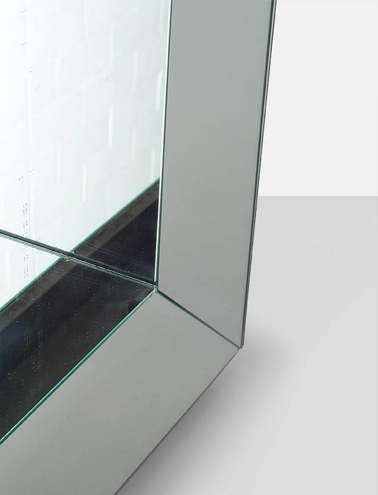 Mid-Century Modern James Mont Pair of Mirrored End Tables For Sale