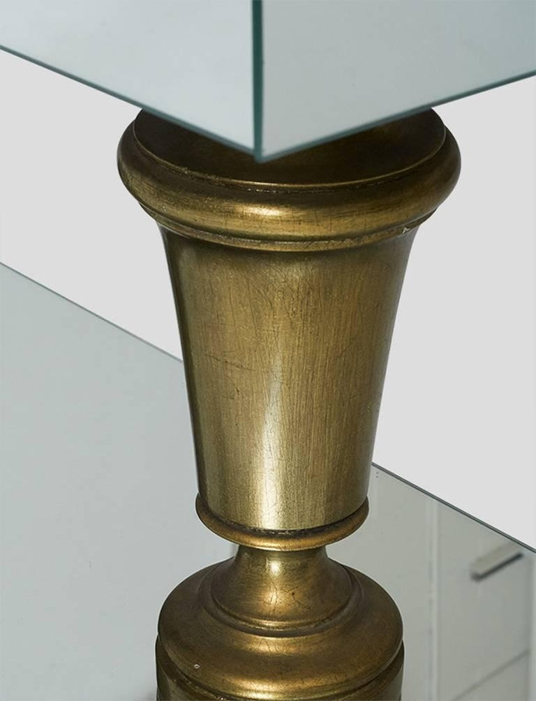 Brass James Mont Pair of Mirrored End Tables For Sale