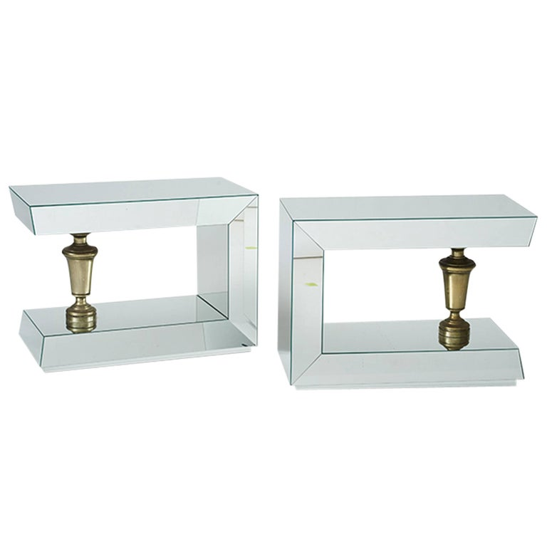 James Mont Pair of Mirrored End Tables For Sale