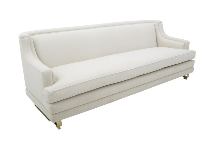Mid-Century Modern James Mont Sofa on Brass Bases For Sale