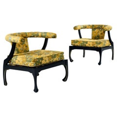 James Mont Style Black Lacquer Gilt Asian Modern Chinoiserie Armchairs by Harris