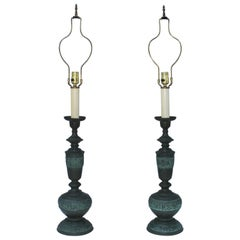 James Mont Style Bronze Japanese Table Lamps