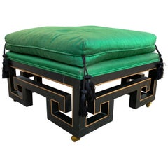 James Mont Style Chinese Asian Black Lacquer Green Silk Stool Midcentury Art
