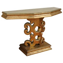 James Mont Style Gold Console Table