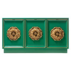 James Mont Style Hollywood Regency Green Lacquered Credenza with Gold Medallions