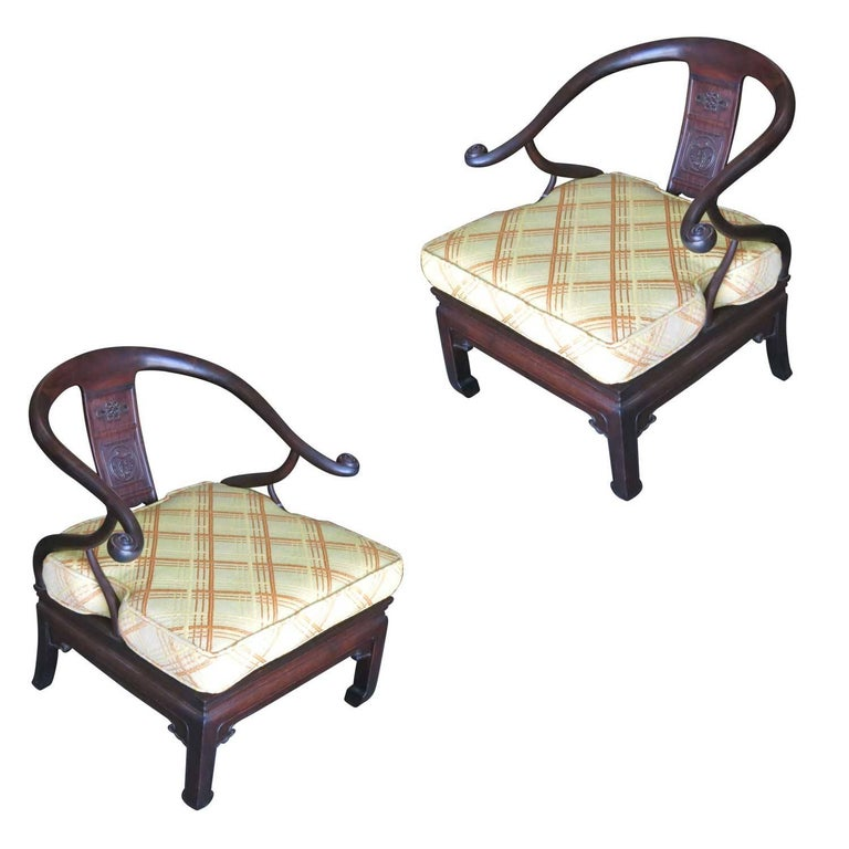 Mid-Century Modern James Mont Style Horseshoe Lounge Chairs, Pair For Sale