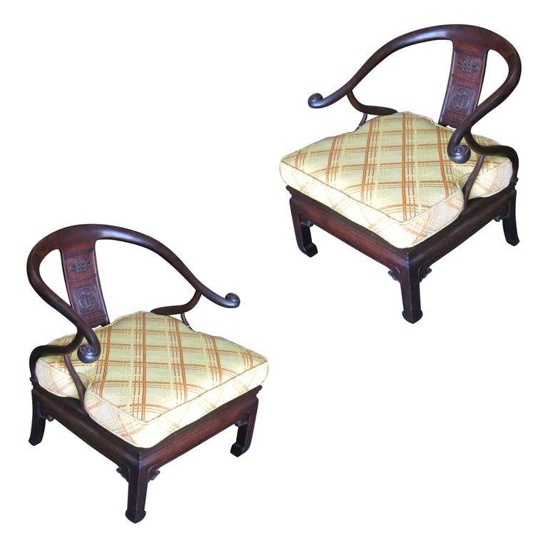 James Mont Style Horseshoe Lounge Chairs, Pair For Sale