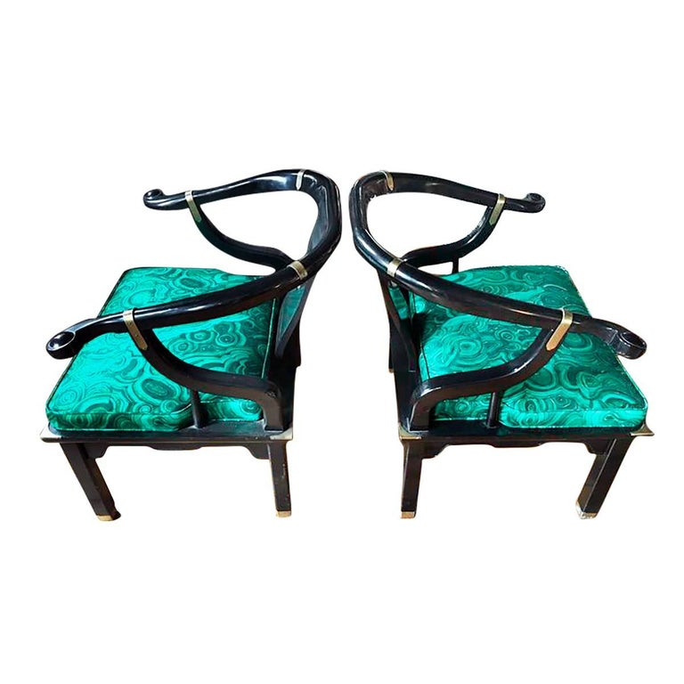Hollywood Regency James Mont Style Malachite Lacquer Lounge Chairs by Century For Sale