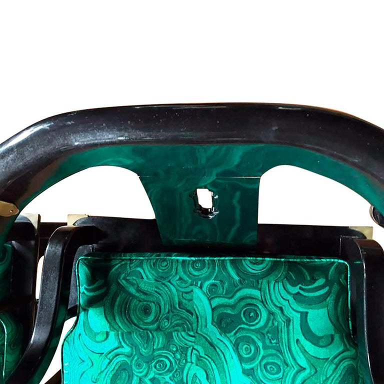 James Mont Style Malachite Lacquer Lounge Chairs by Century In Good Condition For Sale In Lambertville, NJ