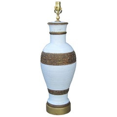 James Mont Style Mid-20th Century Pottery & Gilded Lamp