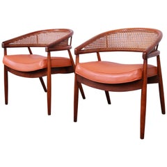 James Mont Style Mid-Century Bent Beech and Cane Club Chairs, 1960s