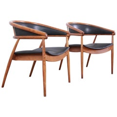 James Mont Style Mid-Century Modern Bentwood Club Chairs, Pair