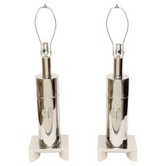 James Mont Style Modernist Nickel Silver Lamps Pair of Vintage