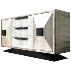 James Mont style Silverleafed Cabinet USA 1950s