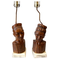 James Mont Style Table Lamps Ceramic Heads on Marble Bases