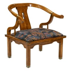 James Mont Style Wood Horseshoe Chair with Brass Fittings