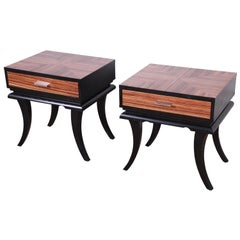 Pair of James Mont Style Zebrawood and Ebonized Saber Leg Nightstands