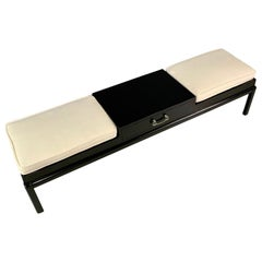 James Mont Upholstered Bench with Patinated Brass Pull Midcentury
