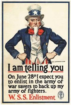 I am tell you original, World War 1,  Uncle Sam vintage poster