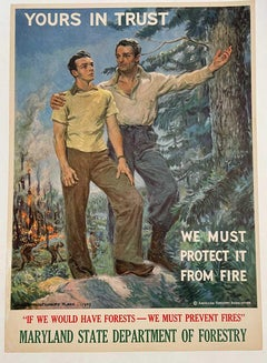 yours in Trust, We Must Protect it From Fire original 1939 vintage poster