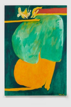 Untitled I (Green Orange), acrylic on canvas painting, bold abstract forms