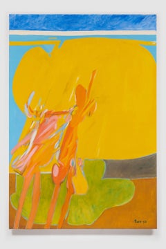 Untitled I (Yellow Blue Green), acrylic on canvas painting, bold abstract forms
