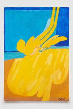 Untitled (Yellow Blue), acrylic on canvas, 72 x 50 inches. Abstract composition