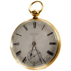 James Murray Royal Exchange 18 Karat Yellow Gold Open Face Pocket Watch