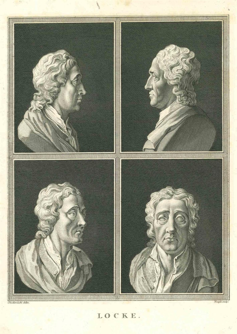 """Heads of Locke is an original artwork realized by James Neagle for Johann Caspar Lavater's """"Essays on Physiognomy, Designed to promote the Knowledge and the Love of Mankind"""", London, Bensley, 1810.   This artwork portrays heads of Locke.   Good"""