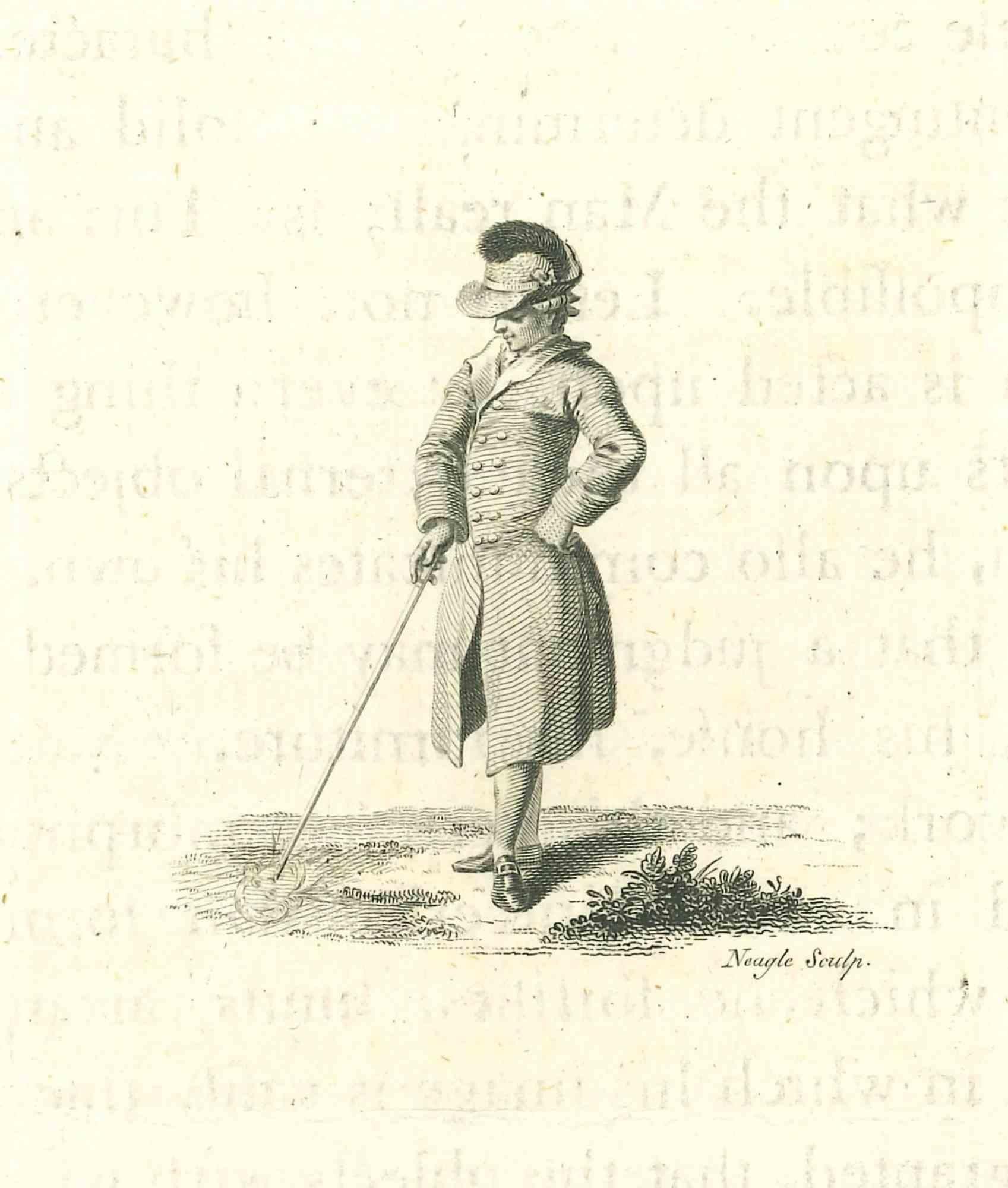Portrait of Gentleman - Original Etching by James Neagle - 1810