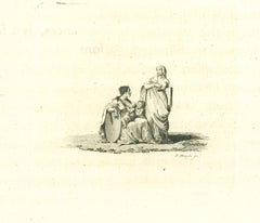 Portrait of Women and Children - Original Etching by James Neagle - 1810