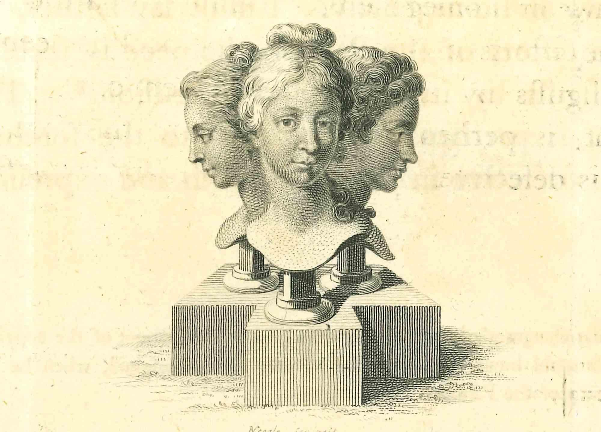The Heads of Women - Original Etching by Thomas Holloway - 1810