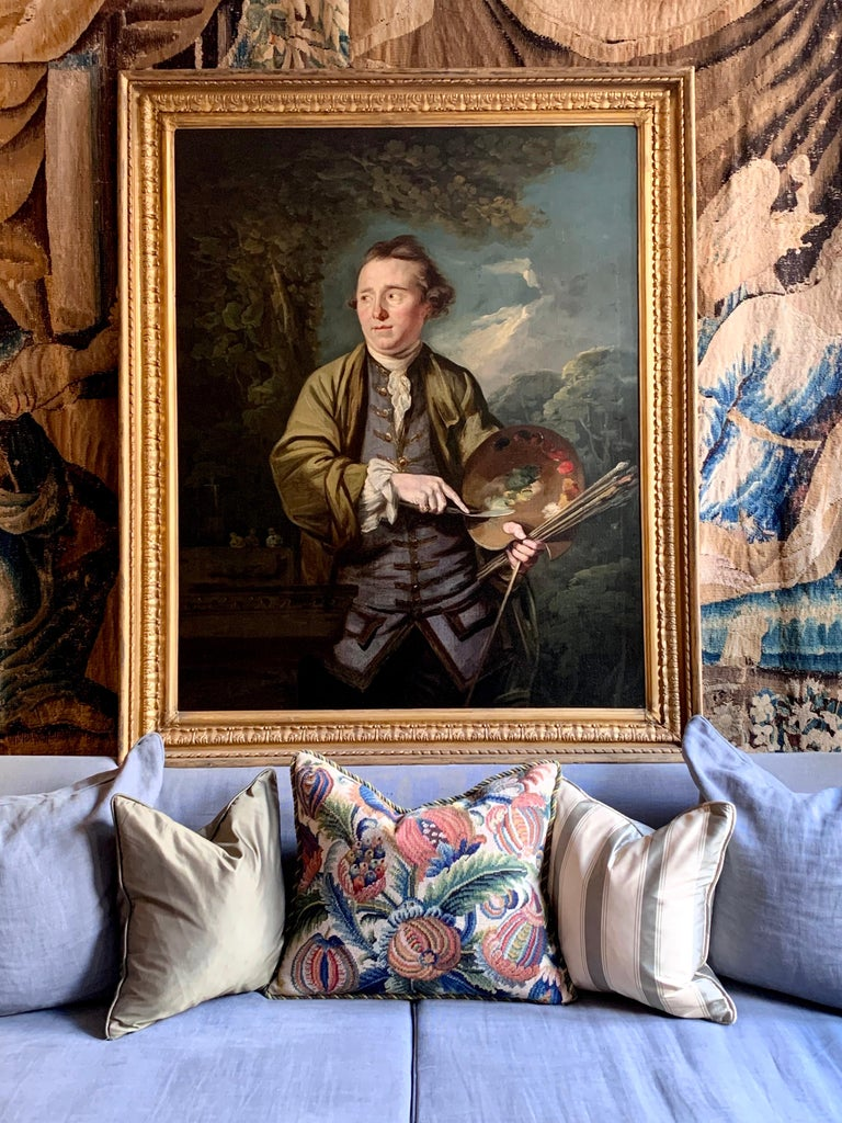 18th Century English Romantic School Portrait of an Artist in a Green Jacket. For Sale 5