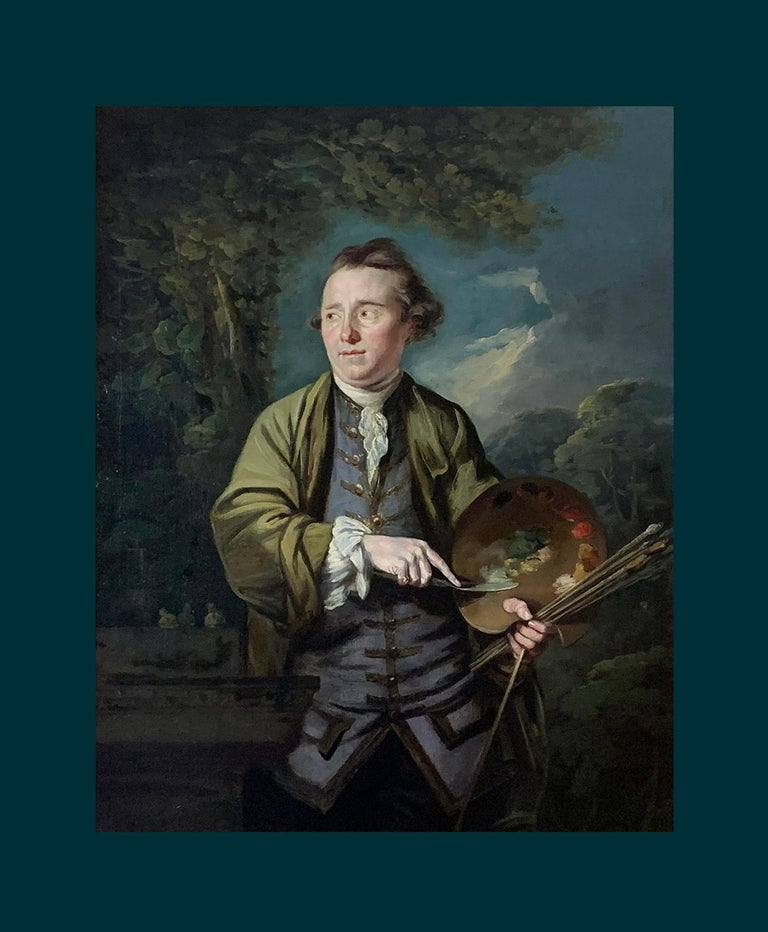 18th Century English Romantic School Portrait of an Artist in a Green Jacket. - Painting by Attributed to James Northcote