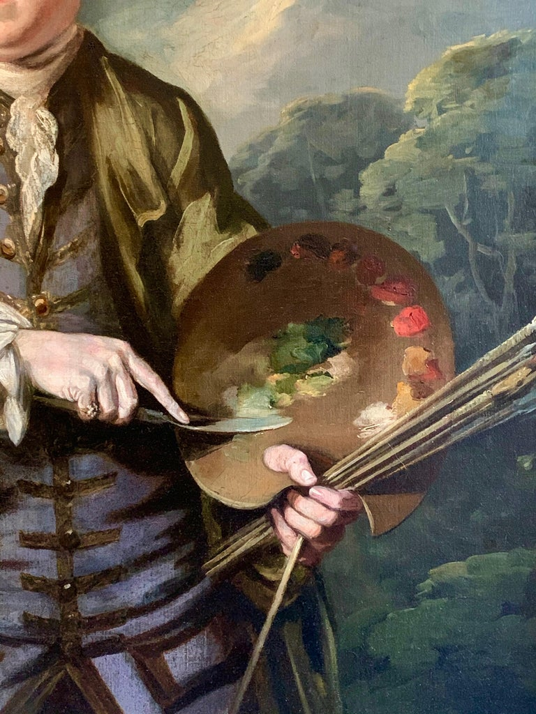 18th Century English Romantic School Portrait of an Artist in a Green Jacket. - Black Portrait Painting by Attributed to James Northcote