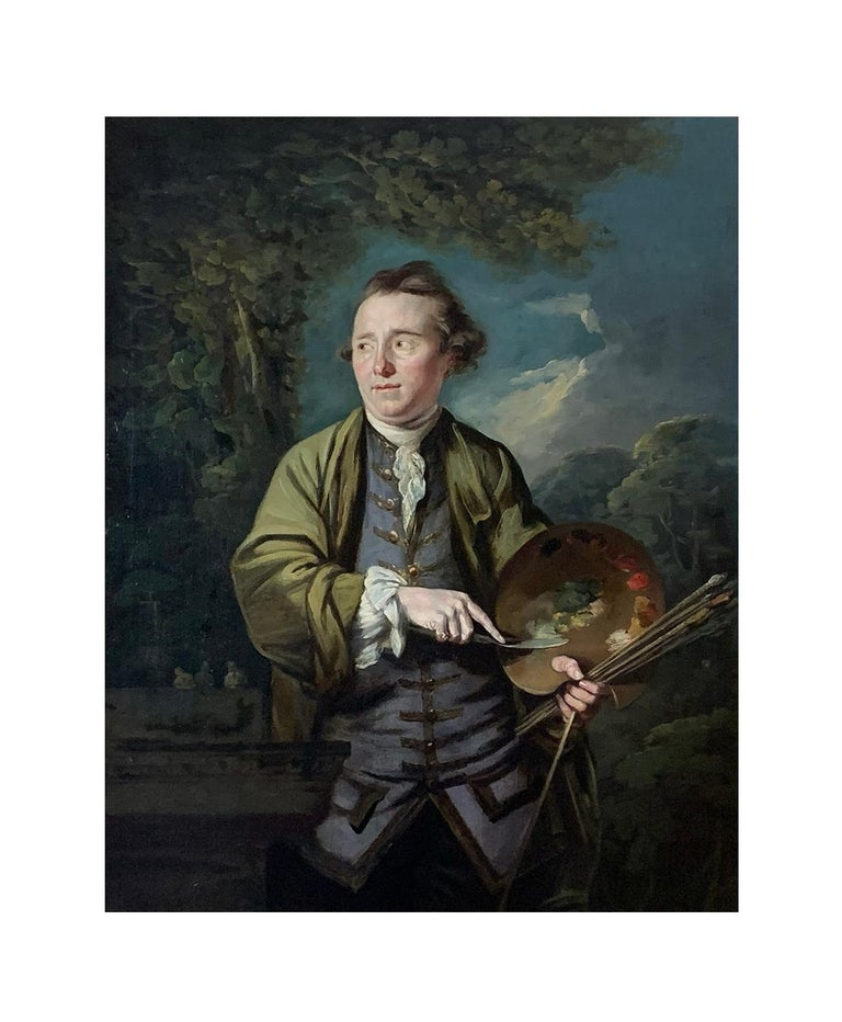 18TH CENTURY PORTRAIT OF AN ARTIST - ATTRIBUTED TO  JAMES NORTHCOTE (1756-1831)  A fine, vibrant and  highly decorative 18th century oil on canvas 'Portrait of an Artist' originally thought to be the by the hand of Joseph Wright of Derby