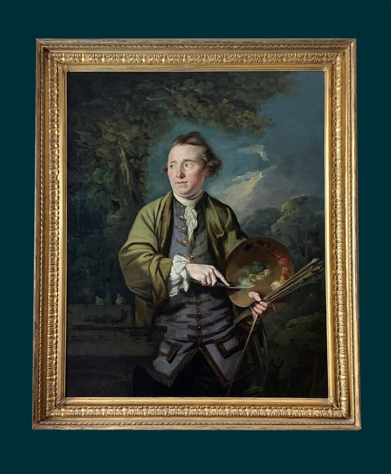 18th Century English Romantic School Portrait of an Artist in a Green Jacket. For Sale 1