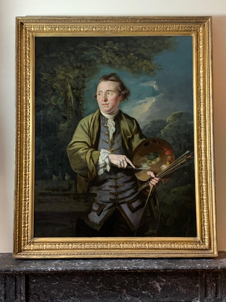 18th Century English Romantic School Portrait of an Artist in a Green Jacket. For Sale 2
