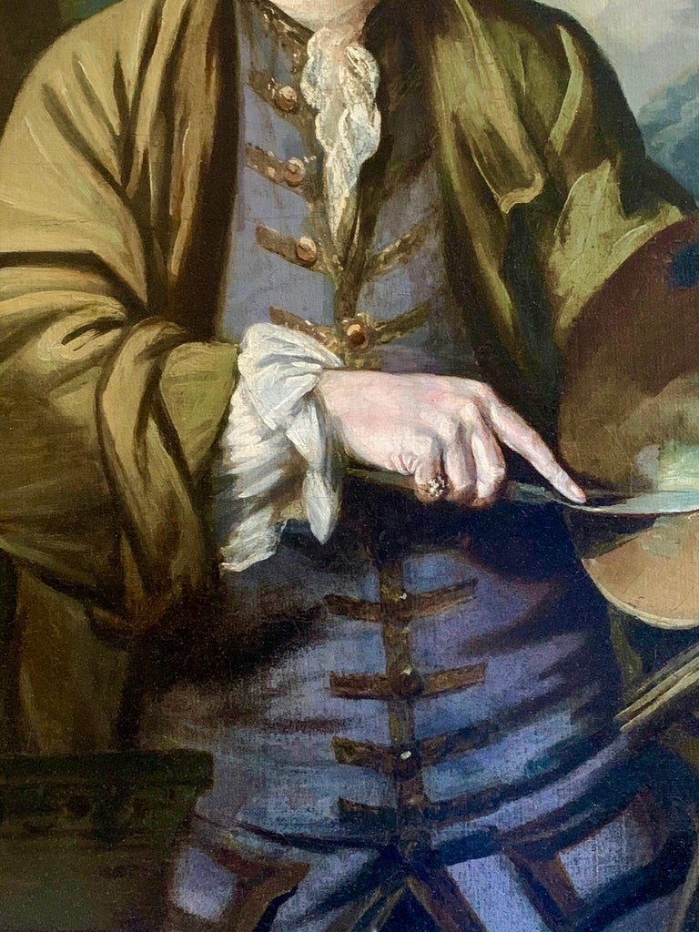 18th Century English Romantic School Portrait of an Artist in a Green Jacket. For Sale 4
