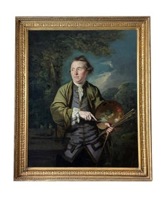 18th Century English Romantic School Portrait of an Artist in a Green Jacket.