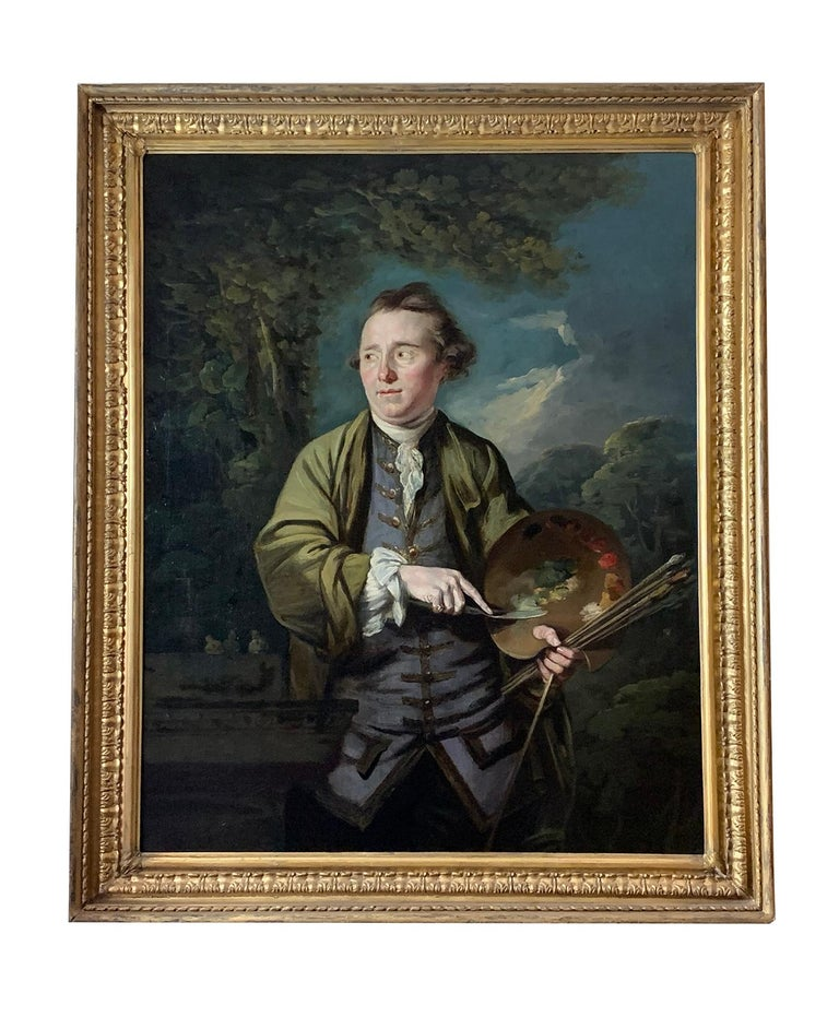 Attributed to James Northcote  Portrait Painting - 18th Century English Romantic School Portrait of an Artist in a Green Jacket.