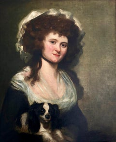18th Century Portrait of a Lady and her Dog Attributed to James Northcote RA.