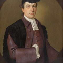 Portrait of a Gentleman Commoner at Oxford, 18th Century Oil on Canvas