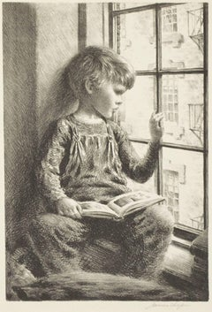 """""""Boy With Book Looking Out Window,"""" Original Lithograph by James Ormsbee Chapin"""