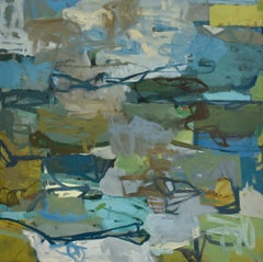 Edgewater Painting (Abstract Oil Painting on Canvas in Green, Blue & Grey)