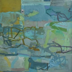 Hartigan (Abstract Oil on Canvas Painting in Blue and Green)