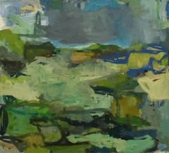 Rivertop I (Square Abstract Oil Painting on Canvas in Green & Teal Palette)