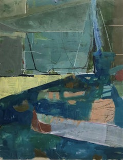 Tablescape III (Abstract Framed Gouache Drawing on Paper in Teal, Blue, & Green)